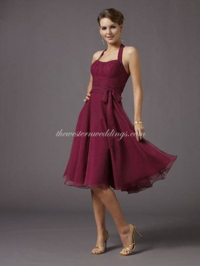 Cheap Western Dresses Online Cheap Column Halter Knee Length Chiffon Bridesmaid / Homecoming Dress [002-0091-0003525] - $89.82 : Western Wed...
