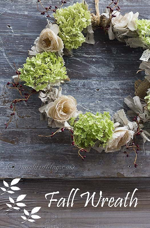 Beautiful Fall wreath made with fabric scraps, tea dyed flowers and fresh hydrangea blooms. The natural, soft, romantic colors are perfect for autumn. http://www.songbirdblog.com