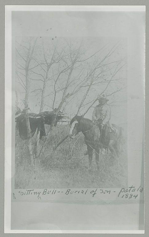 Sitting Bull on horseback, tree burial of son - Patala, 1884