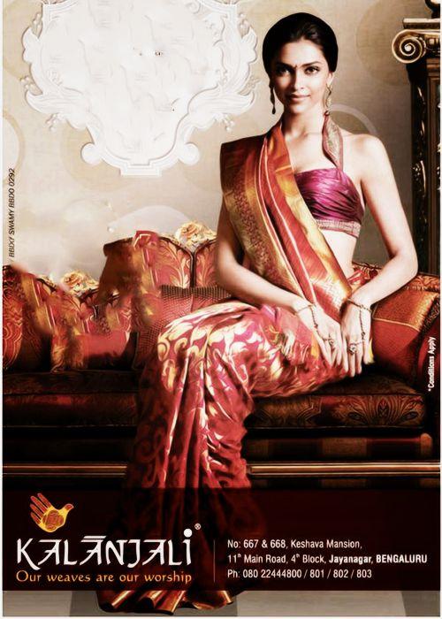 Deepika Padukone for http://www.kalanjali.com/ Sarees Bangalore