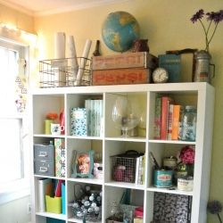 eclectic office with found treasures and creative storage.