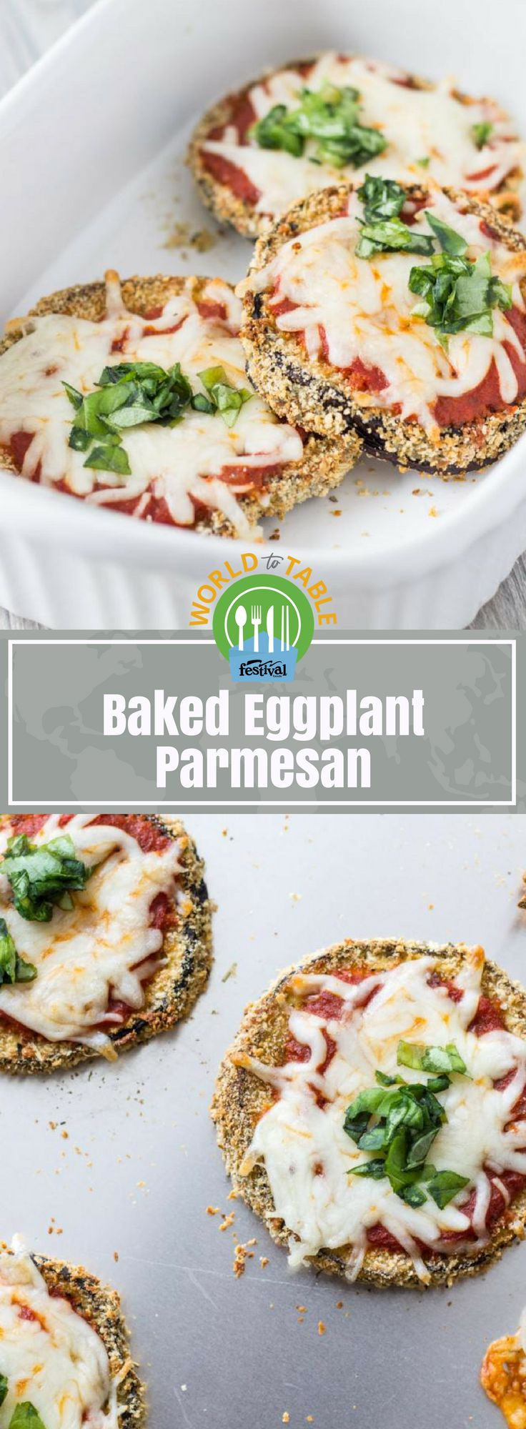 Like mini pizzas, Baked Eggplant Parmesan featureseggplantslices dipped in a parmesan-panko crust and topped with marinara sauce, melty mozzarella and fresh basil. This easy dish is a fun, kid-friendly way to enjoy this unique veggie! #eggplant #parmesan #eggplantparmesan #mozzarella #panko #marinara #basil #kidfriendly #dinnerrecipes #easyrecipes #pizza #worldtotable