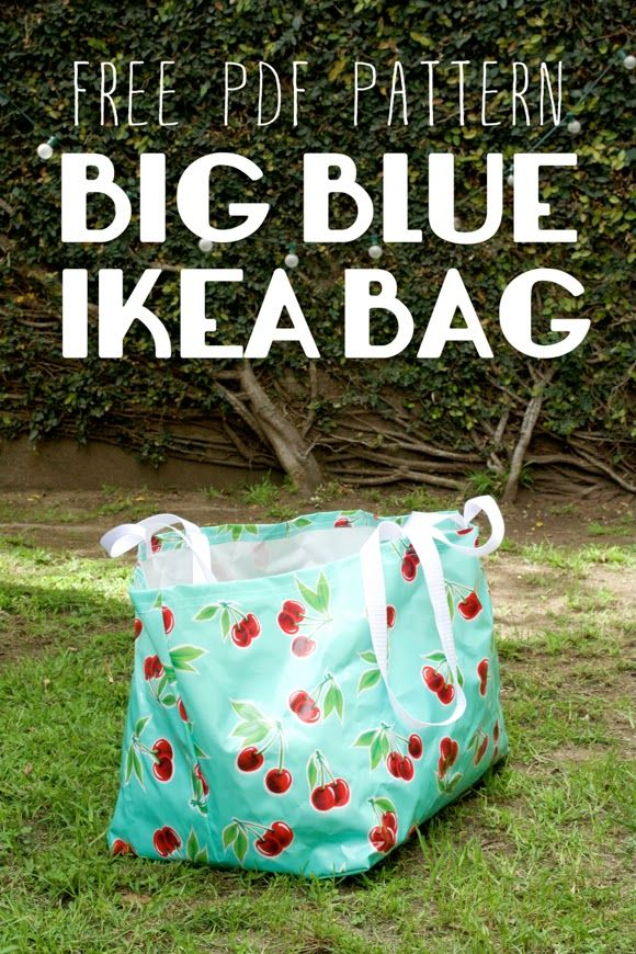 """This free sewing pattern is the """"Big Blue IKEA Bag"""". Thanks to Miss Make for sharing it."""