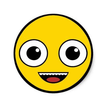 Super Happy Face Classic Round Sticker - craft supplies diy custom design supply special