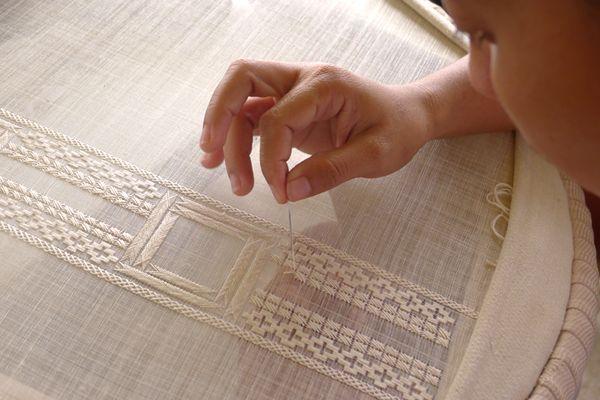 Barong Tagalog/Filipiniana dress (Embroidery on jusi and pina) Lumban Embroidery Association