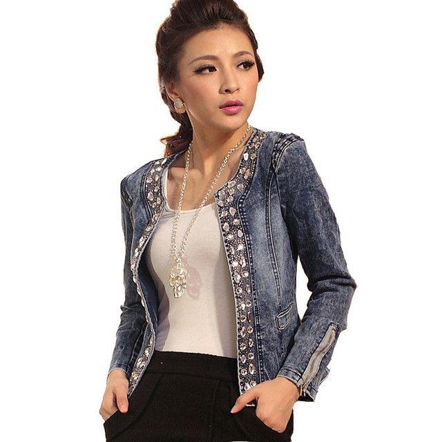 2016 New Retro Jackets Women Coats With Rivets Female Jackets Slim Denim Jackets Outerwear Coats Classical Rhinestone Sequins
