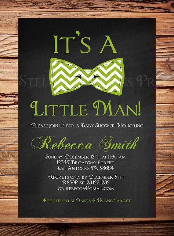Little Man Baby Shower Invitation Boy Chalkboard Bowtie Boy Shower