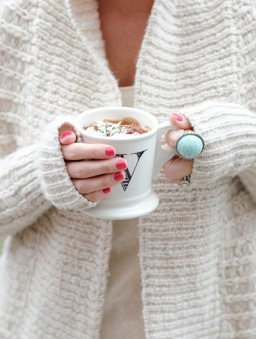This whole pic makes me happy! cozy sweater, cute mani, great statement ring, warm yummy drink. yay fall!!!