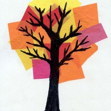 Herbstbild Seidenpapier im Hintergrund kleben