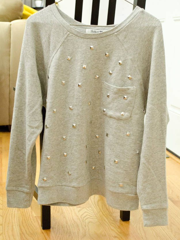 diy studded sweatshirt
