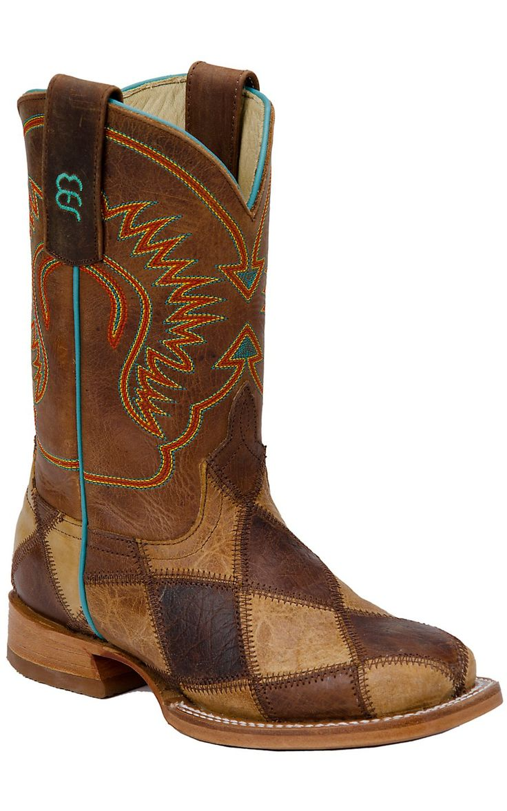 Anderson Bean Kid's Brown & Tan Patchwork Square Toe Western Boots