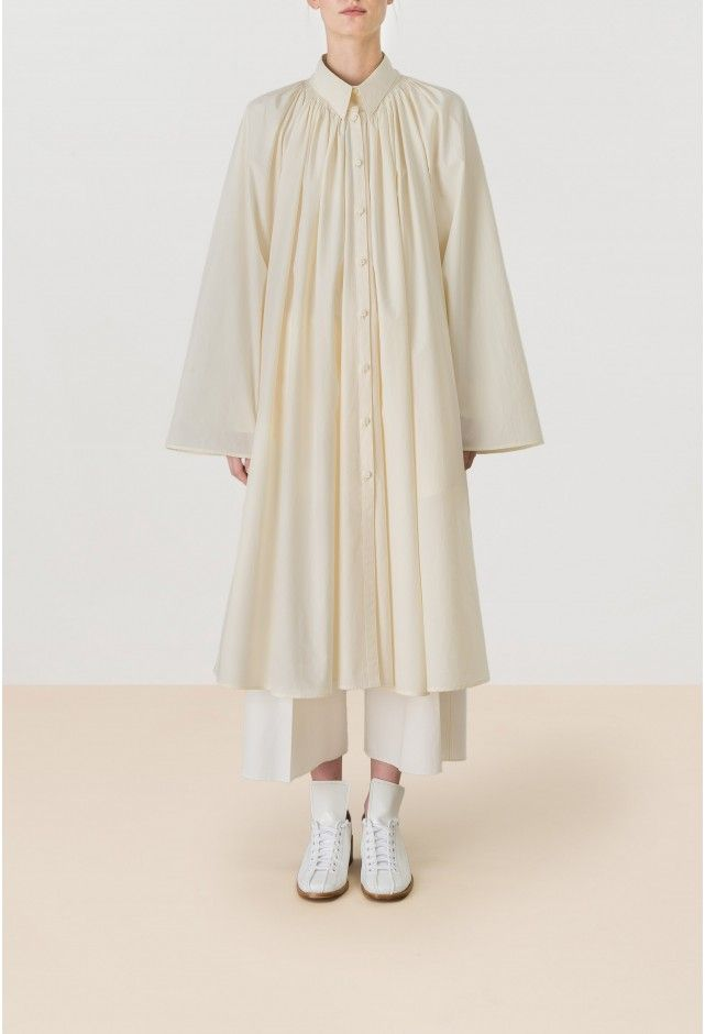 Contemporary Fashion - white robe shirt dress with gathering detail // Lemaire