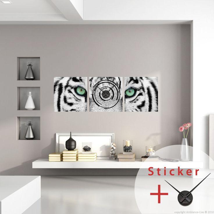 Sticker horloge Tigre blanc - sticker STICKERS ORIGINAUX Stickers Horloges - Ambiance-sticker