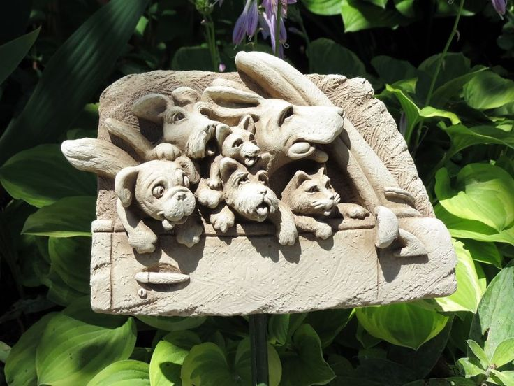 Carruth Studios Road Trip Dogs Hand Cast Sculpture Aged Stone Finish