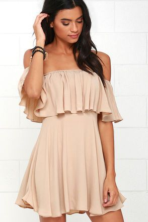 Grab your sweetheart and dance the night away in the Young and in Love Beige Off-the-Shoulder Dress! Lightweight woven fabric sways to a fluttering off-the-shoulder tier from an elasticized neckline. A bit of smocking secures the bodice above the flaring skirt. Hidden back zipper.