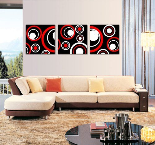 Spirit Up Art Huge Red and Black and White Abstract Art Circles Picture Painting on Canvas Print without framed, Modern Home Decorations Wall Art set of 3 Each is 50*50cm #cy-278 Abstract Canvas Print http://www.amazon.com/dp/B00LN5FQLE/ref=cm_sw_r_pi_dp_8NiAwb1REPKVT
