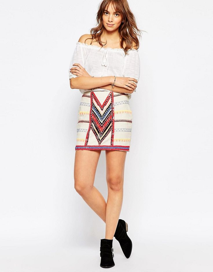 Image 1 ofPepe Jeans Canvas Mini Skirt With All Over Beading