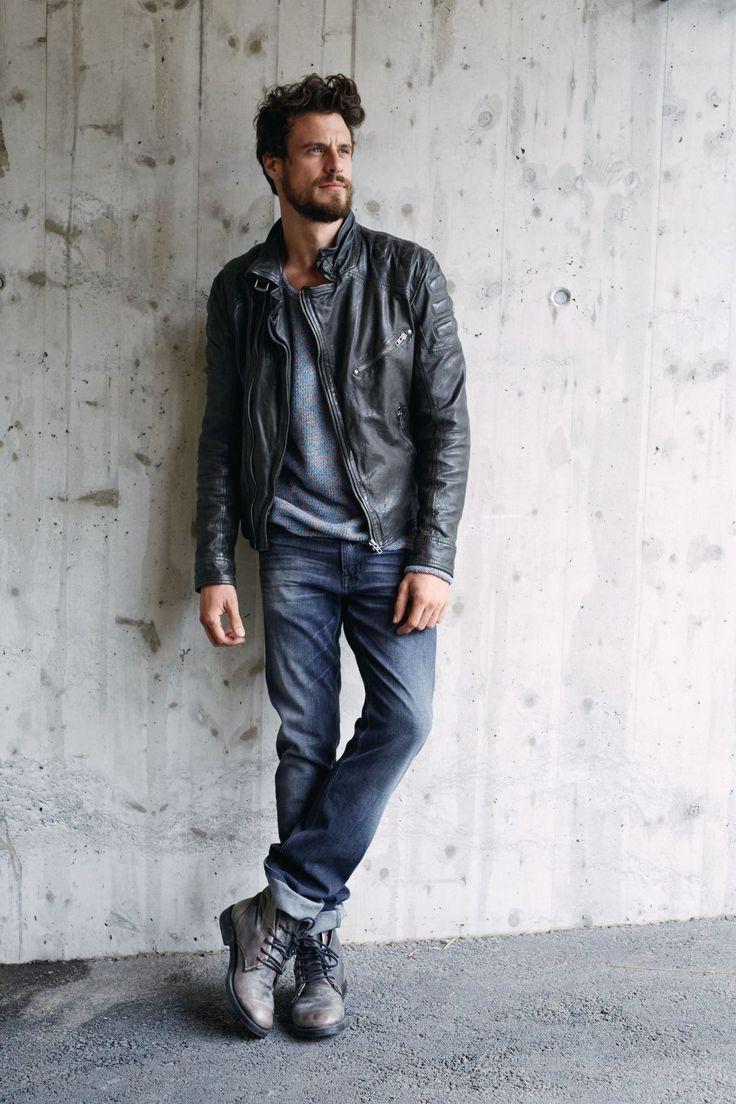 Lederjacke, asymetrischer Reißverschluss, Biker Look | Lederjacken | Jacken | Men