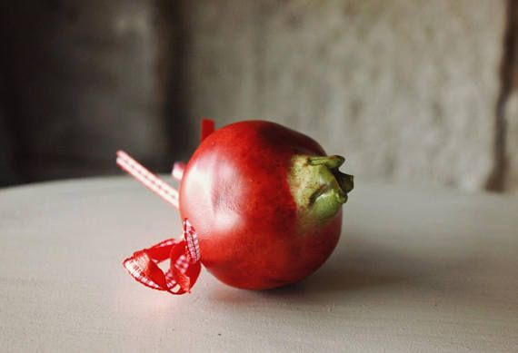 Handmade Tiny Ceramic Pomegranate Charm Pottery