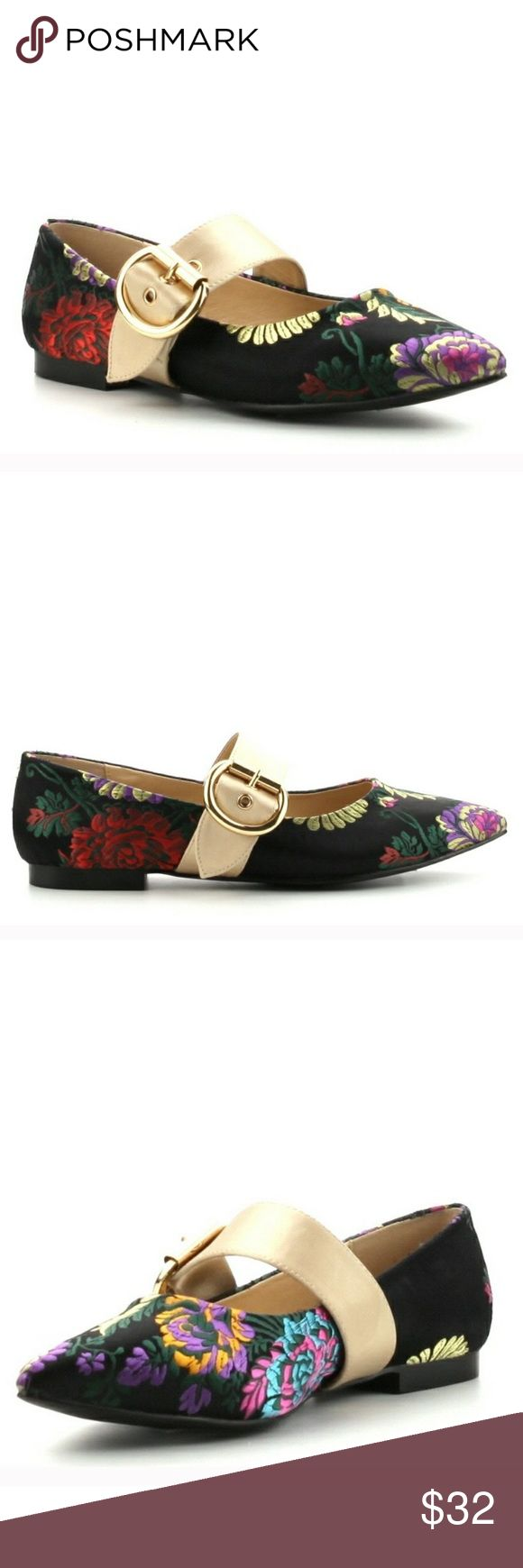 Embroidery Deep Black Chinese Baby Doll Flat Extravagant Embroidery on this Flat very Chic and Trendy looking, you can wear it with anything Very Chic to show if it's a U.K. Style Shoes Flats & Loafers