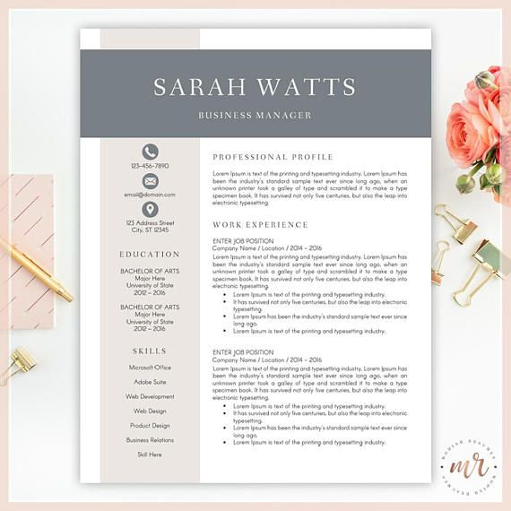 Resume Template, CV Template for MS Word, Creative Resume, Modern Resume Design, Professional Resume Instant Download