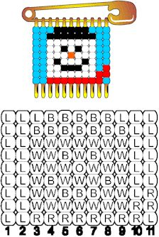 Snowman Pattern for Beaded Safety Pins