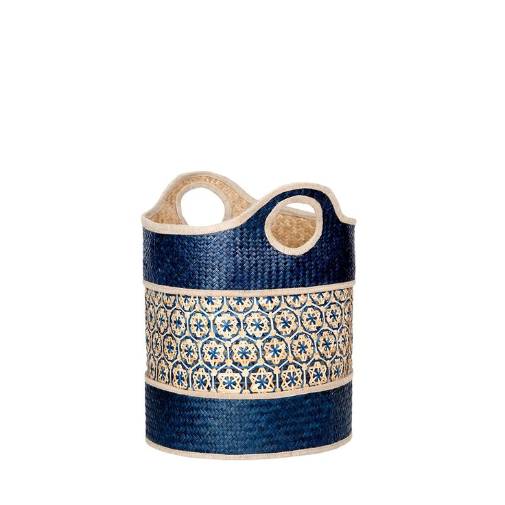 Granatowy kosz z trawy morskiej Da'wn #kosz #basket #seagrass #trawa #morska #homemade #manufcture #design #rękodzieło #unique #limitededition #amiou #onemarket.pl