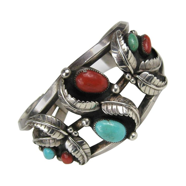 Old Pawn Navajo Sterling Silver Turquoise Coral cuff Bracelet | From a unique collection of vintage cuff bracelets at https://www.1stdibs.com/jewelry/bracelets/cuff-bracelets/