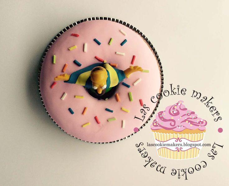 DONUT HOMER CAKE THE SIMPSON CAKE lascookiemakers.blogspot.com lascookiemakers@gmail.com