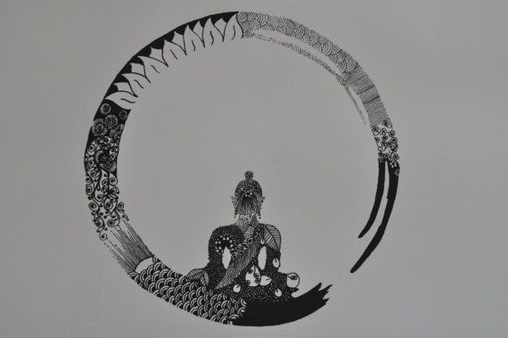 buddha and zen circle, original pen and ink on Etsy, $23.00 AUD
