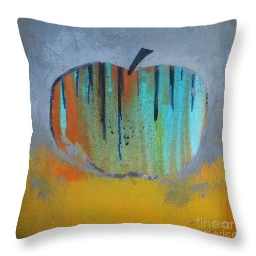 Apple Throw Pillow featuring the painting In Love With Apple by Vesna Antic