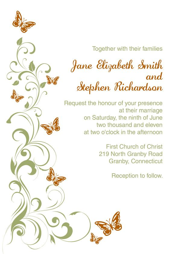 Green And Orange Butterflies Free Wedding Invitation And RSVP