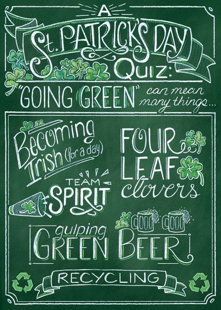 Going Green Quiz St. Patrick's Day Card Inside Text: Circle all that apply! Happy St. Patrick's Day can be found at designdesign.us #designdesign