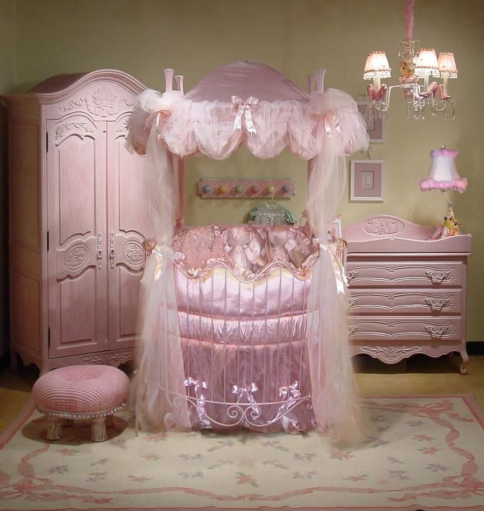 Luxury pet room for furbabies.  Includes round iron bed, clothing storage, and dressing table.: Pink Baby, Nurseries Rooms, Pink Nurseries, Cribs Beds, Princesses Rooms, Baby Girls, Baby Rooms, Baby Cribs, Round Cribs