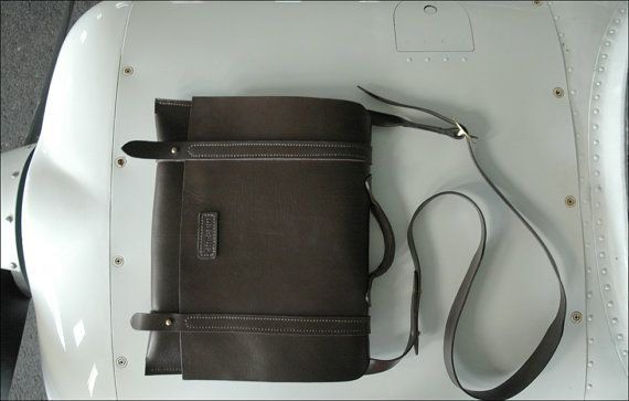 Leather Messenger Bag by Aviation Luggage.
