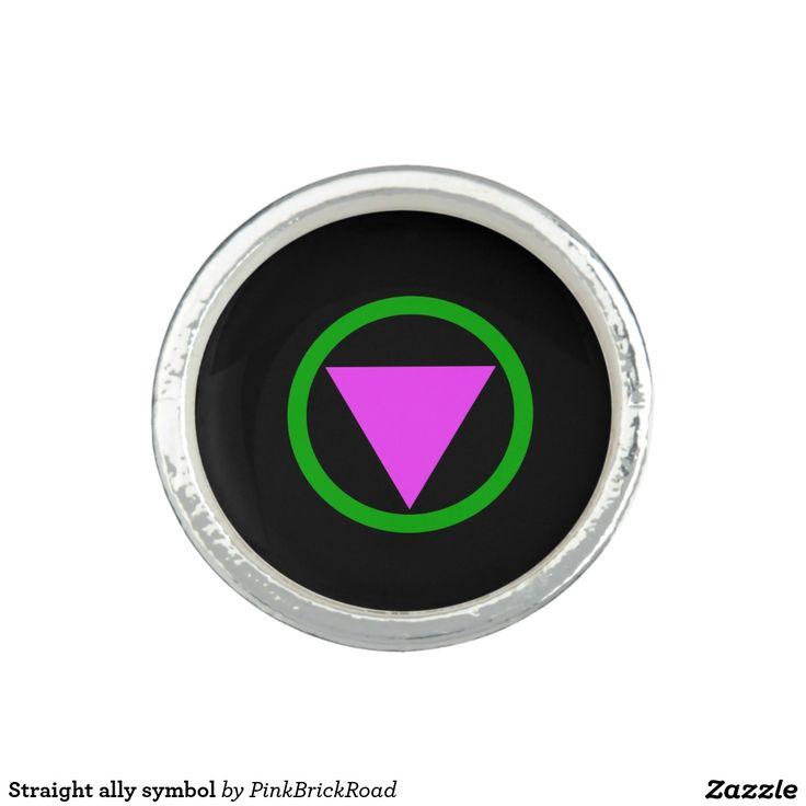 Straight ally symbol photo ring
