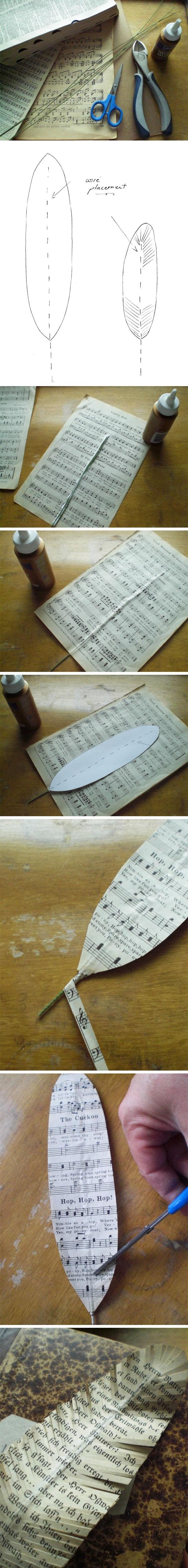 music sheet feathers