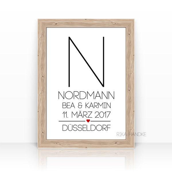 """Gastgeschenke - Kunstdruck """"Initiale"""" Hochzeit Geschenk - ein Designerstück von ZEIT-RAUM bei DaWanda"""