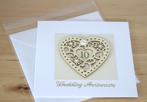 Unique 10th Anniversary Card Gift 10th Tenth Wedding Etsy Wedding Anniversary Cards 30th Wedding Anniversary First Wedding Anniversary Gift