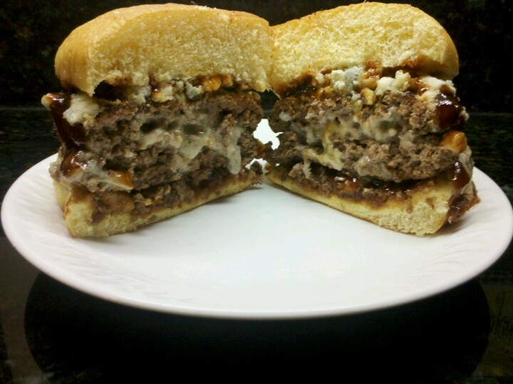 Scott's stuffed blue cheese burgers, with Sweet Baby Ray's BBQ sauce, baked onion straws, and fresh blue cheese crumbles.