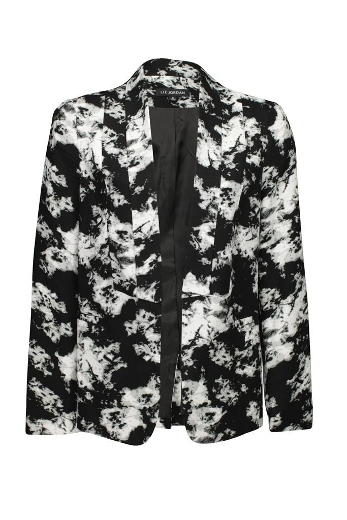 Liz Jordan Print Crepe Jacket $169.95 AUD  int crepe edge to edge jacket with soft lapel, polyester knit lining, Two faux pockets Main: 100% Viscose Lining: 100% Polyester Item Code: 048002