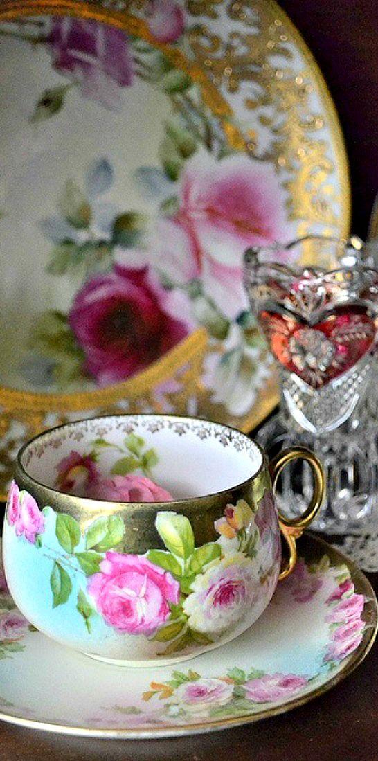 rose floral gilt teacup and saucer