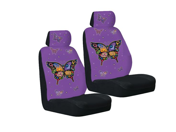 purple seat covers | Yujean Purple Celestial Butterfly Bucket Seat Covers
