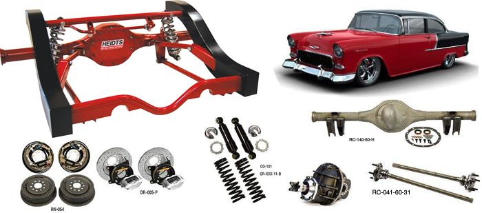 1955-1957 Tri Five Chevy Rear Triangulated 4-Link Suspension, Shocks & Rear Ends - HEIDTS®