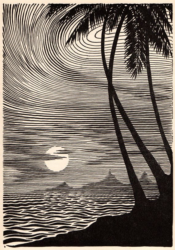 """1953 Don BLANDING Original Art Deco Vintage Print """"A CERTAIN HOUR"""""""