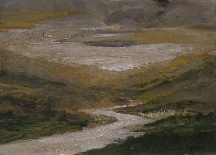 Evening in the valley. Oil on panel. Author: Witold Kubicha