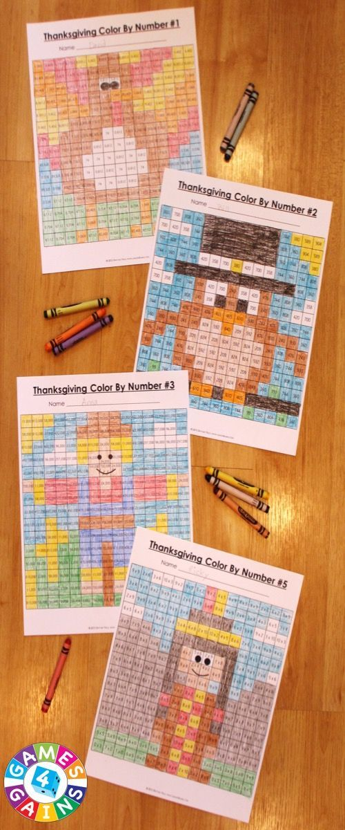 Each Thanksgiving Math Color-by-Number set comes with 6 Thanksgiving math color-by-number activities for reviewing key math skills. These Thanksgiving math sets are perfect to use in centers, in small groups, or with the whole class! 2nd-5th grade versions available.