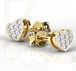 Kolczyki złote z brylantami / Earrings made from gold with diamonds / 1 139 PLN / #earrings #gold #diamonds #heart #biżuteria #kolczyki #złoto #diamenty