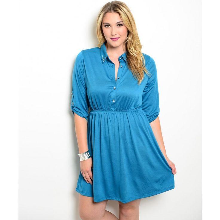 Teal Knit Shirt Dress studded collar xl 2xl 3xl