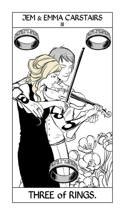 Jem & Emma Carstairs Tarot card by Cassandra Jean. It doesn't take place anywhere specific, which is why Jem's hair color is off, it's a sort of symbolic image — but it's a nice idea, isn't it?